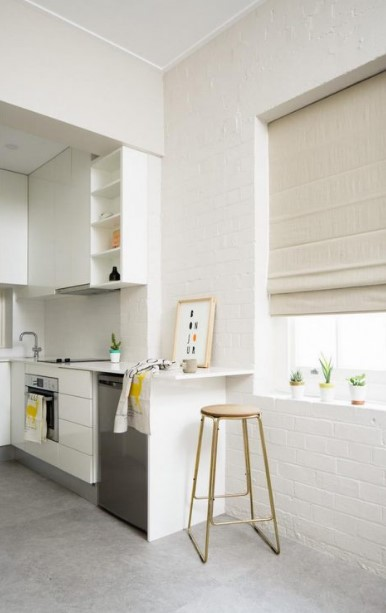 White brick wall in a modern kitchen area