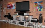 Entertainment Center with Bricked-Wall Background